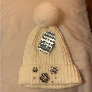 Victoria's Secret snowflake sparkle Pom Pom hat